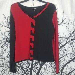 Alfani | Red & Black Long Sleeve Blouse medium
